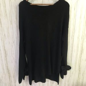 Halogen Black boatneck sweater with tie sleeves XL